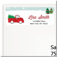 Vintage Red Truck With Tree - Christmas Return Address Labels
