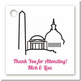 Washington DC Skyline - Personalized Bridal | Wedding Card Stock Favor Tags