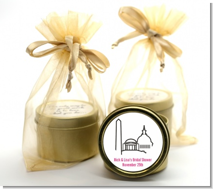 Washington DC Skyline - Bridal Shower Gold Tin Candle Favors