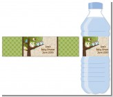 Owl - Look Whooo's Having Twins - Personalized Baby Shower Water Bottle Labels