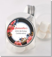 Watercolor Floral - Personalized Birthday Party Candy Jar