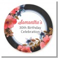 Watercolor Floral - Round Personalized Birthday Party Sticker Labels thumbnail