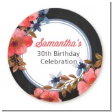 Watercolor Floral - Round Personalized Birthday Party Sticker Labels