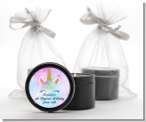 Watercolor Unicorn Head - Birthday Party Black Candle Tin Favors