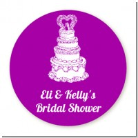 Wedding Cake - Round Personalized Bridal Shower Sticker Labels