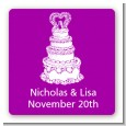 Wedding Cake - Square Personalized Bridal Shower Sticker Labels thumbnail