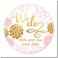 We Do - Round Personalized Bridal Shower Sticker Labels