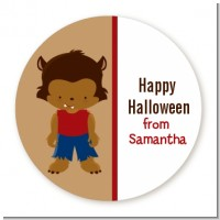 Werewolf - Round Personalized Halloween Sticker Labels