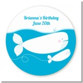 Whale Of A Good Time - Round Personalized Birthday Party Sticker Labels