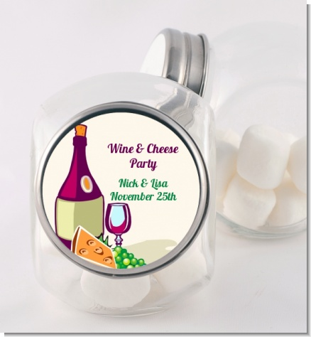 Wine & Cheese - Personalized Bridal Shower Candy Jar