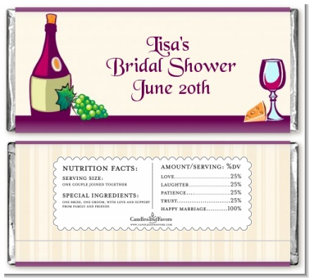Wine & Cheese - Personalized Bridal Shower Candy Bar Wrappers