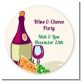 Wine & Cheese - Round Personalized Bridal Shower Sticker Labels thumbnail