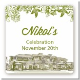 Winery - Square Personalized Bridal Shower Sticker Labels
