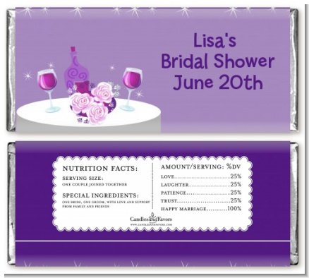 Wine Tasting - Personalized Bridal Shower Candy Bar Wrappers