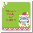 Winter Owl - Square Personalized Christmas Sticker Labels thumbnail