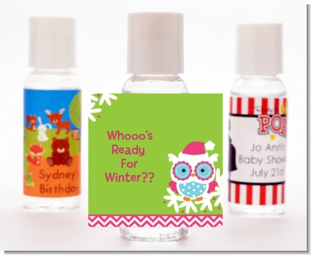 Winter Owl - Personalized Christmas Hand Sanitizers Favors