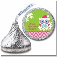 Winter Owl - Hershey Kiss Christmas Sticker Labels thumbnail
