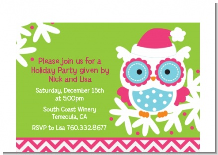Winter Owl - Christmas Petite Invitations
