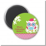 Winter Owl - Personalized Christmas Magnet Favors