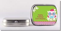 Winter Owl - Personalized Christmas Mint Tins