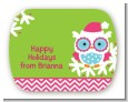 Winter Owl - Personalized Christmas Rounded Corner Stickers thumbnail