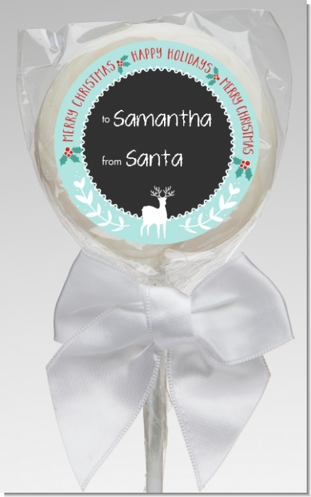 Winter Reindeer - Personalized Christmas Lollipop Favors