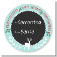 Winter Reindeer - Round Personalized Christmas Sticker Labels thumbnail