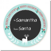 Winter Reindeer - Round Personalized Christmas Sticker Labels