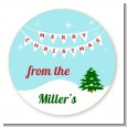 Winter Wonderland - Round Personalized Christmas Sticker Labels thumbnail