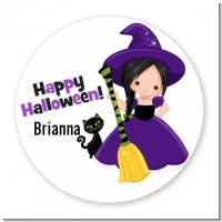 Witch and Broom Stick - Round Personalized Halloween Sticker Labels