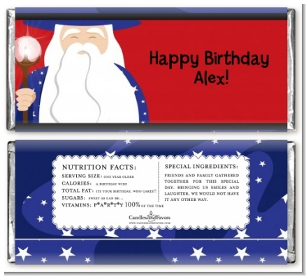 Wizard - Personalized Birthday Party Candy Bar Wrappers