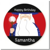 Wizard - Round Personalized Birthday Party Sticker Labels
