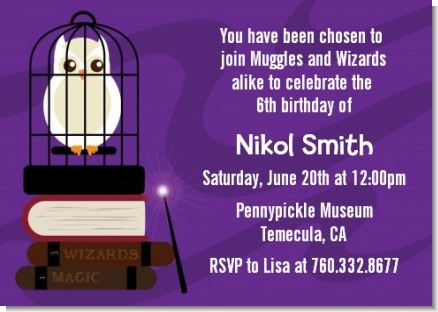 Wizard Tools & Owl - Birthday Party Invitations