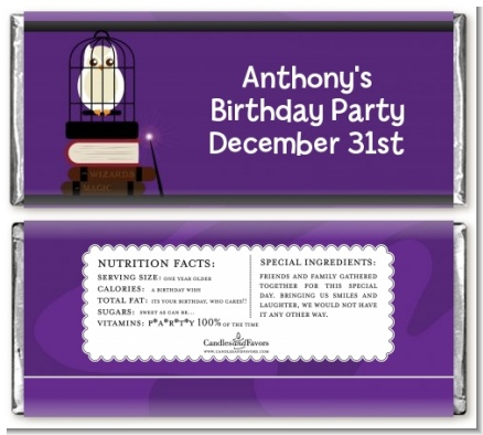 Wizard Tools & Owl - Personalized Birthday Party Candy Bar Wrappers