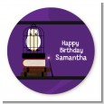 Wizard Tools & Owl - Round Personalized Birthday Party Sticker Labels thumbnail