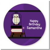 Wizard Tools & Owl - Round Personalized Birthday Party Sticker Labels