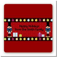 Wooden Soldiers - Square Personalized Christmas Sticker Labels