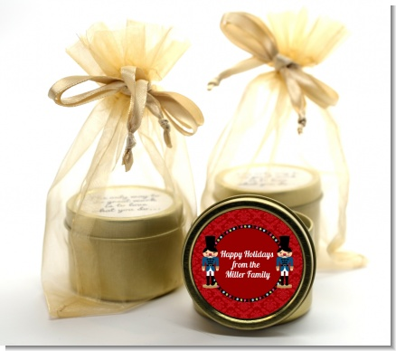 Wooden Soldiers - Christmas Gold Tin Candle Favors