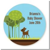 Woodland Forest - Round Personalized Baby Shower Sticker Labels