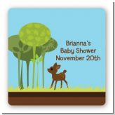 Woodland Forest - Square Personalized Baby Shower Sticker Labels