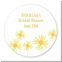 Yellow Asters - Round Personalized Sticker Labels