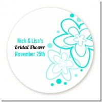 Aqua Flowers - Round Personalized Sticker Labels