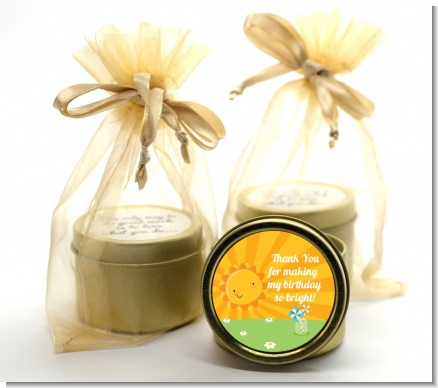 You Are My Sunshine - Birthday Party Gold Tin Candle Favors