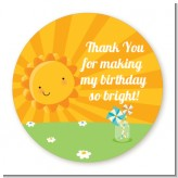 You Are My Sunshine - Round Personalized Birthday Party Sticker Labels
