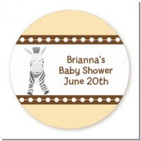 Zebra - Round Personalized Baby Shower Sticker Labels