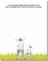 Zebra - Baby Shower Notes of Advice