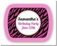 Zebra Print Pink & Black - Personalized Birthday Party Rounded Corner Stickers