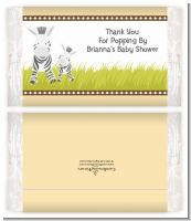 Zebra - Personalized Popcorn Wrapper Baby Shower Favors