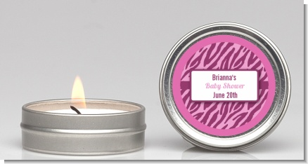 Zebra Print Baby Pink - Baby Shower Candle Favors