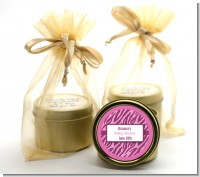 Zebra Print Baby Pink - Baby Shower Gold Tin Candle Favors